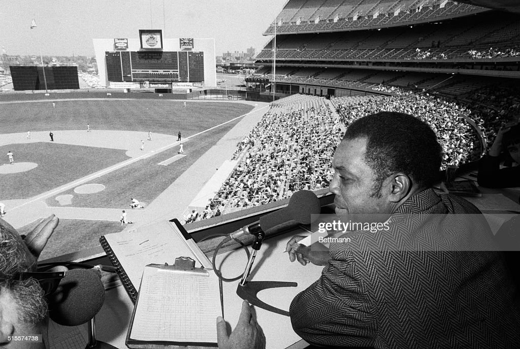 Baseball superstar Willie Mays surveys Shea Stadium from the press box. The 18-time All-Star was recently traded from the San Francisco Giants to the New York Mets for minor league pitcher Charlie Williams and $50,000 in cash.