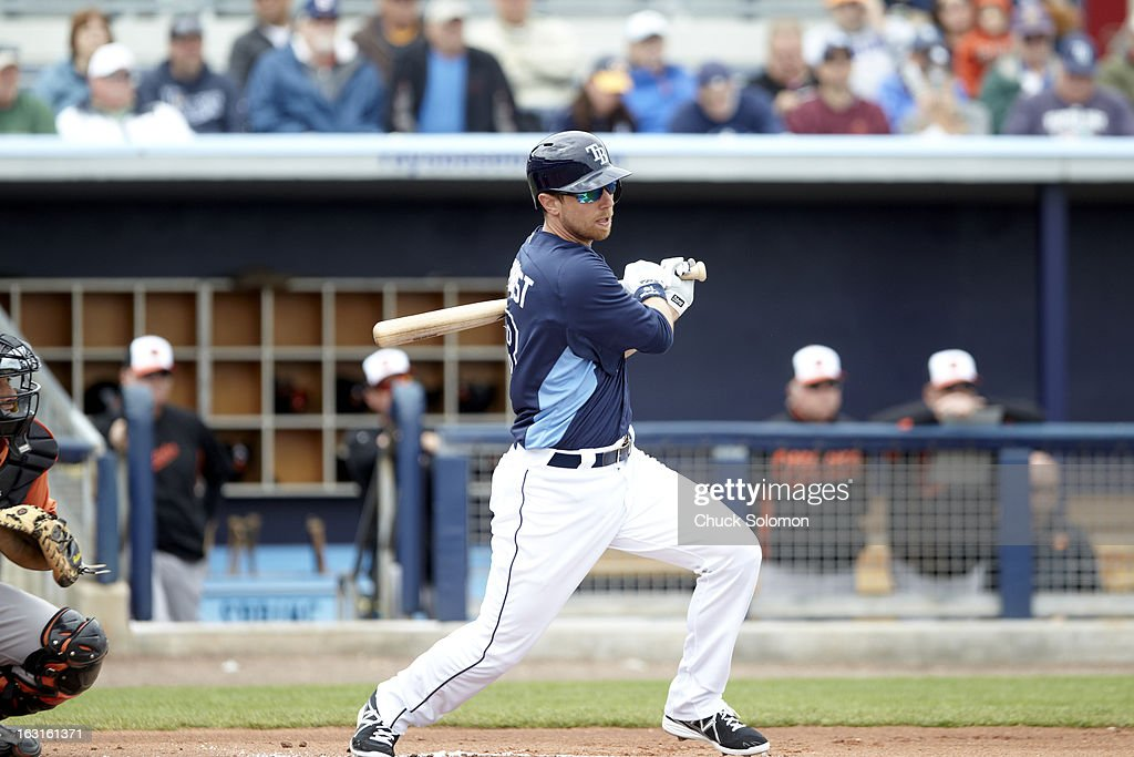 Tampa Bay Rays Ben Zobrist (18) in action, at bat vs Baltimore Orioles during spring training game at Charlotte Sports Park. Chuck Solomon F29 )