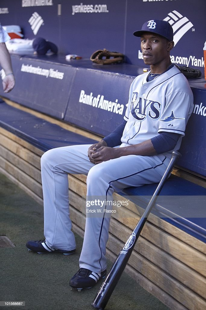 Tampa Bay Rays B.J. Upton (2) in dugout during game vs New York Yankees. Bronx, NY 5/20/2010