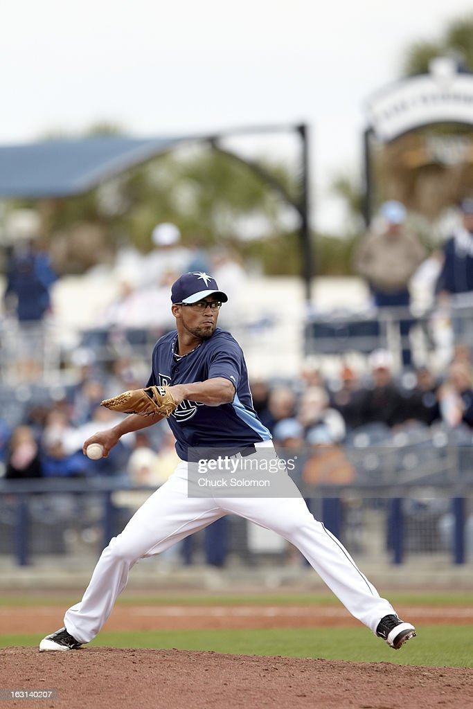 Tampa Bay Rays Juan Sandoval (85) in action, pitching vs Baltimore Orioles during spring training game at Charlotte Sports Park. Chuck Solomon F145 )