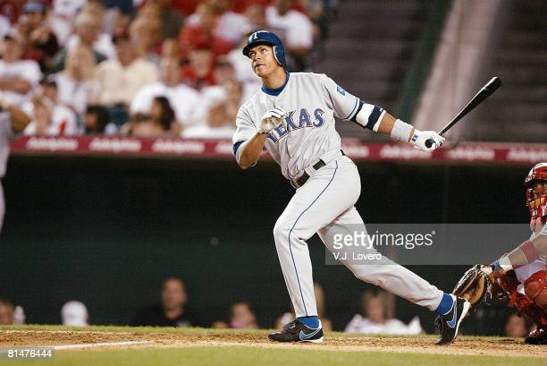 Baseball Texas Rangers Alex Rodriguez in action at bat vs Anaheim Angels during opening day game Anaheim CA 3/30/2003