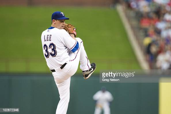 Texas Rangers Cliff Lee in action pitching vs Baltimore Orioles Arlington TX 7/10/2010 CREDIT Greg Nelson OPQI