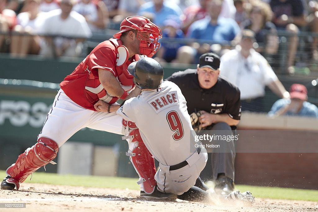Texas Rangers <a gi-track='captionPersonalityLinkClicked' href=/galleries/search?phrase=Max+Ramirez&family=editorial&specificpeople=4175170 ng-click='$event.stopPropagation()'>Max Ramirez</a> (51) in action, attempting tag vs Houston Astros Hunter Pence (9). Arlington, TX 6/26/2010