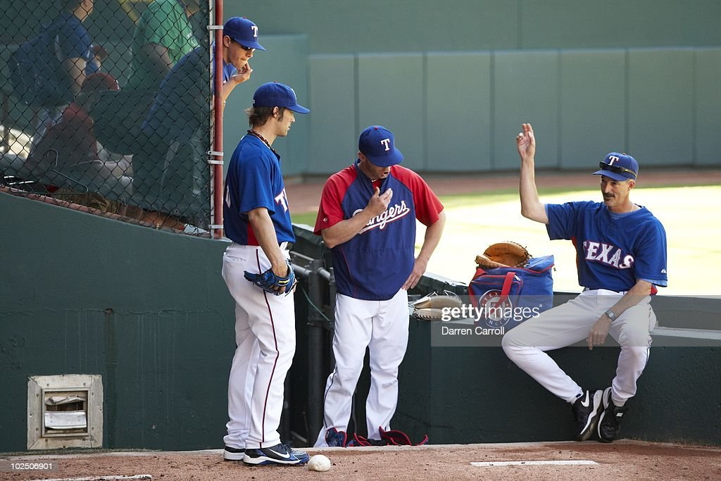 Texas Rangers pitching coach Mike Maddux during game vs Detroit Tigers. Arlington, TX 4/24/2010