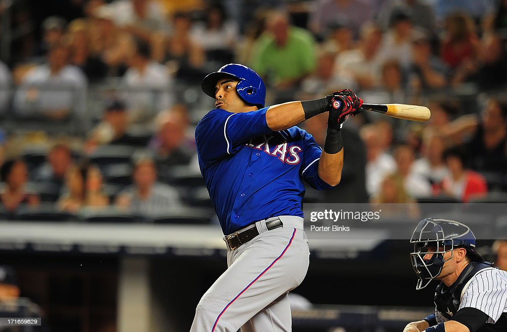 Texas Rangers right fielder Nelson Cruz (17) in action, at bat hits a two-run homer in the 7th inning during game vs New York Yankees at Yankee Stadium. Porter Binks TK1 )