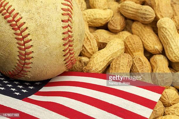 Baseball, US Flag and Peanuts, American Tradition, Patriotism