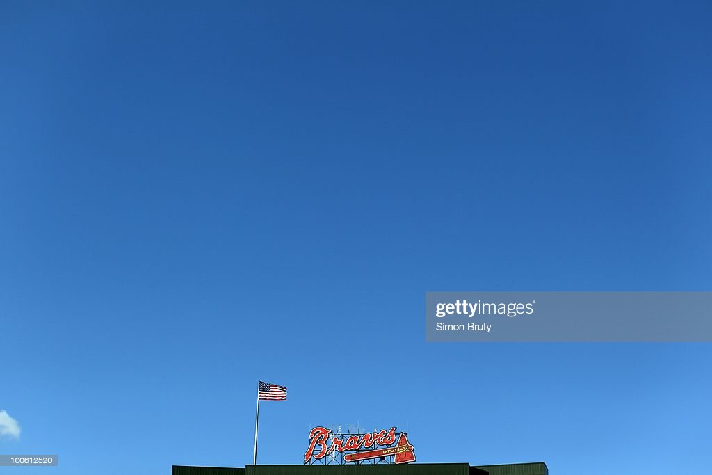 View of Atlanta Braves logo atop of Turner Field during game vs Chicago Cubs. Atlanta, GA 4/8/2010