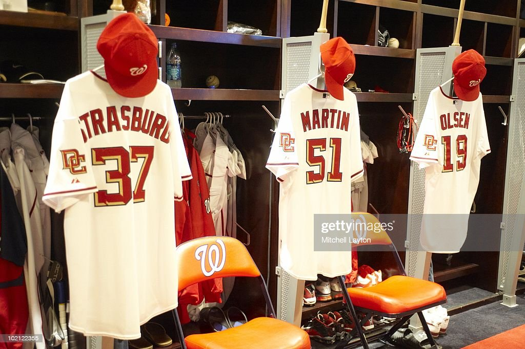 View of jersey of Washington Nationals Stephen Strasburg (37) hanging up in locker room before game vs Pittsburgh Pirates. Strasburg's first MLB game. Washington, DC 6/8/2010