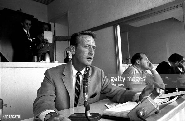 View of Los Angeles Dodgers announcer Vin Scully in broadcast booth during game at Dodger Stadium Los Angeles CA CREDIT Phil Bath