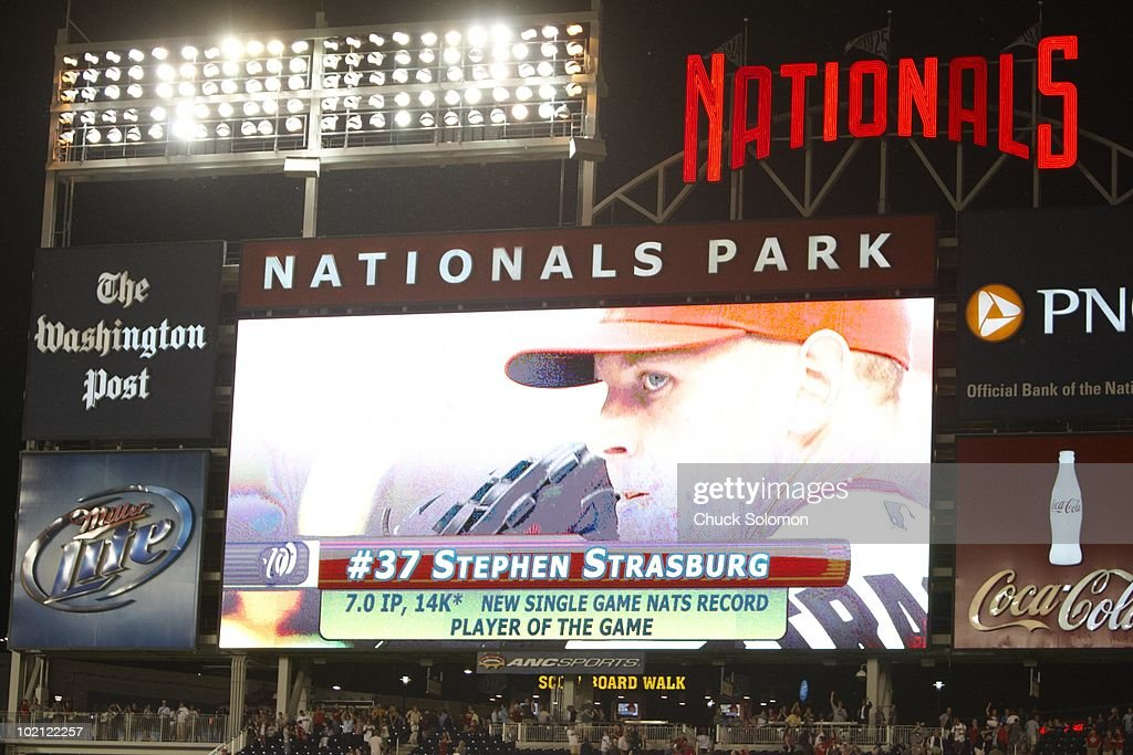 View of Washington Nationals Stephen Strasburg (37) on video screen after game vs Pittsburgh Pirates. new single game Nats record with 14 strikeouts. Strasburg's first MLB game. Washington, DC 6/8/2010