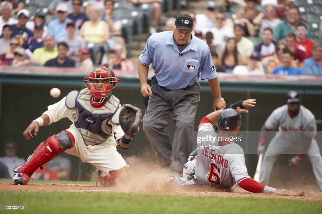 Washington Nationals Ian Desmond (6) in action, sliding home vs Cleveland Indians Carlos Santana (41) Cleveland, OH 6/13/2010
