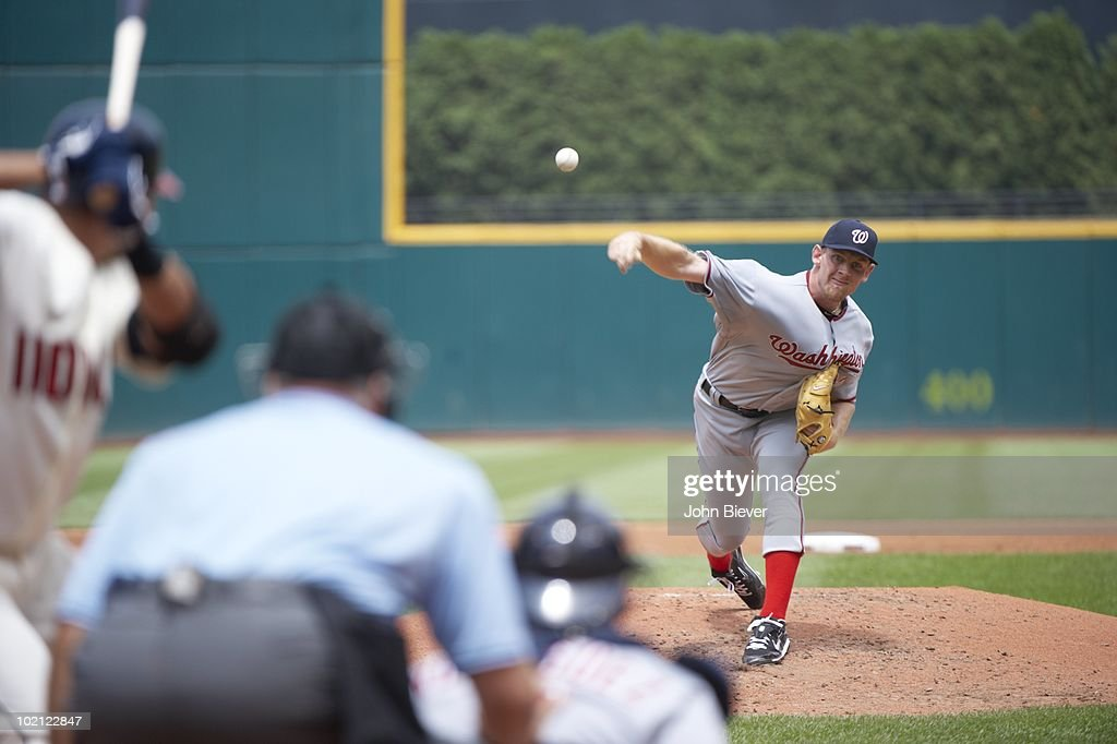 Washington Nationals Stephen Strasburg (37) in action, pitching vs Cleveland Indians. Cleveland, OH 6/13/2010