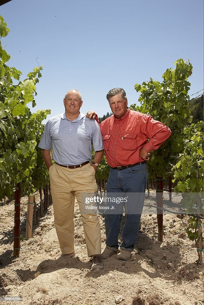 Portrait of Hall of Famers and 1969 New York Mets players Nolan Ryan (L) and Tom Seaver (R) at GTS Vineyards on Diamond Mountain. Seaver owns the vineyard and Ryan is the President of the Texas Rangers. Calistoga, CA 6/20/2009