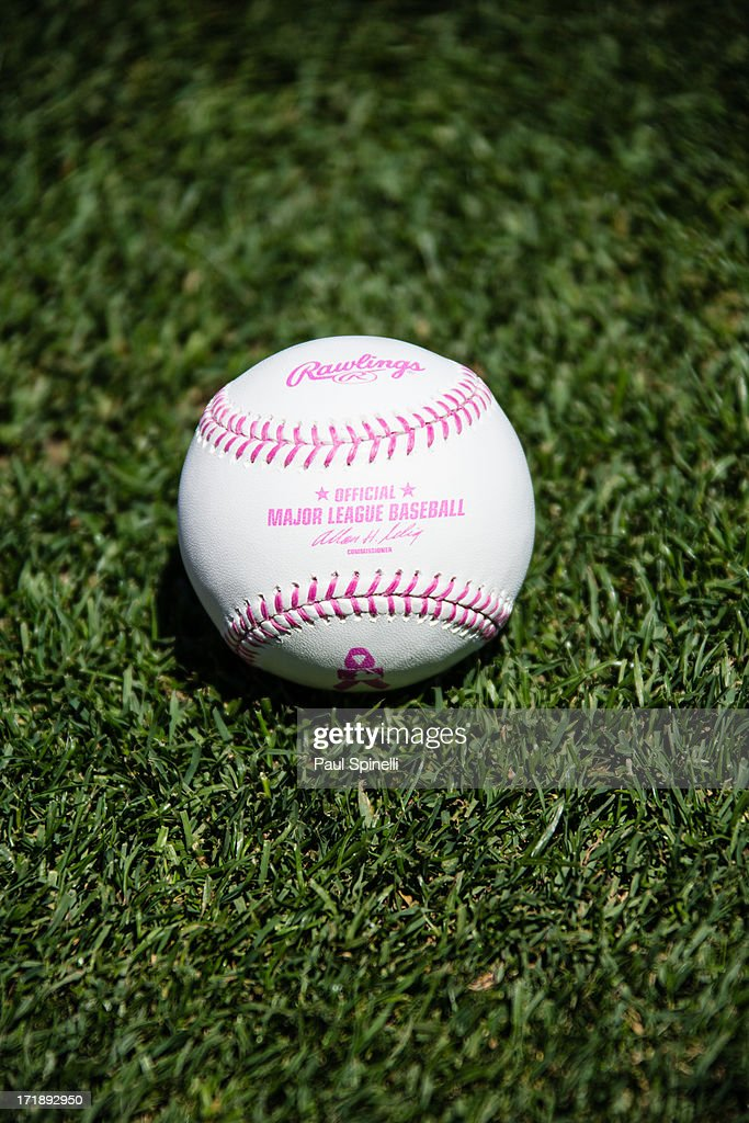 A baseball with pink seams is seen before being used in the Los Angeles Dodgers game in honor of Mother's Day during the game against the Miami Marlins on Sunday, May 12, 2013 at Dodger Stadium in Los Angeles, California. The Dodgers won the game 5-3.