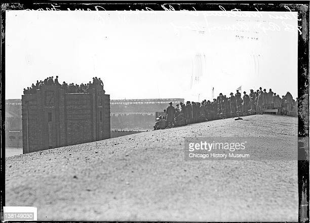 Baseball World Series 1917 Chicago White Sox vs New York Giants spectators watching from building rooftops Chicago Illinois October 1 1917 From the...