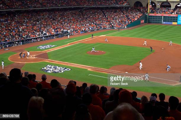 World Series Aerial rear view of Houston Astros Marwin Gonzalez in action at bat vs Los Angeles Dodgers Yu Darvish at Minute Maid Park Game 3 Houston...