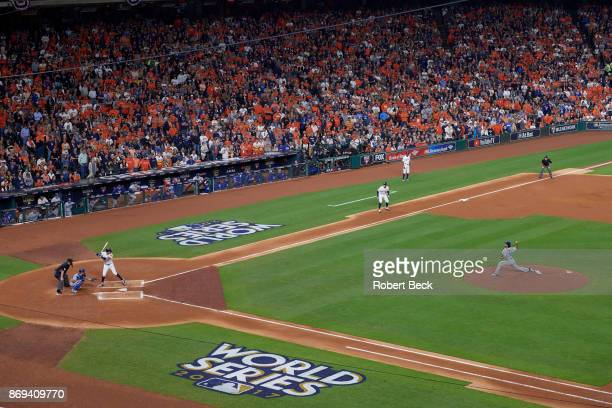 World Series Aerial view of Houston Astros Carlos Correa in action at bat vs Los Angeles Dodgers Yu Darvish at Minute Maid Park Game 3 Houston TX...