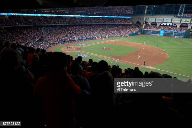 World Series Aerial view of Los Angeles Dodgers Austin Barnes in action at bat vs Houston Astros at Minute Maid Park Game 5 Houston TX CREDIT Al...