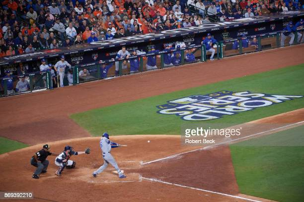 World Series Aerial view of Los Angeles Dodgers Cody Bellinger in action at bat vs Houston Astros at Dodger Stadium Game 4 Houston TX CREDIT Robert...