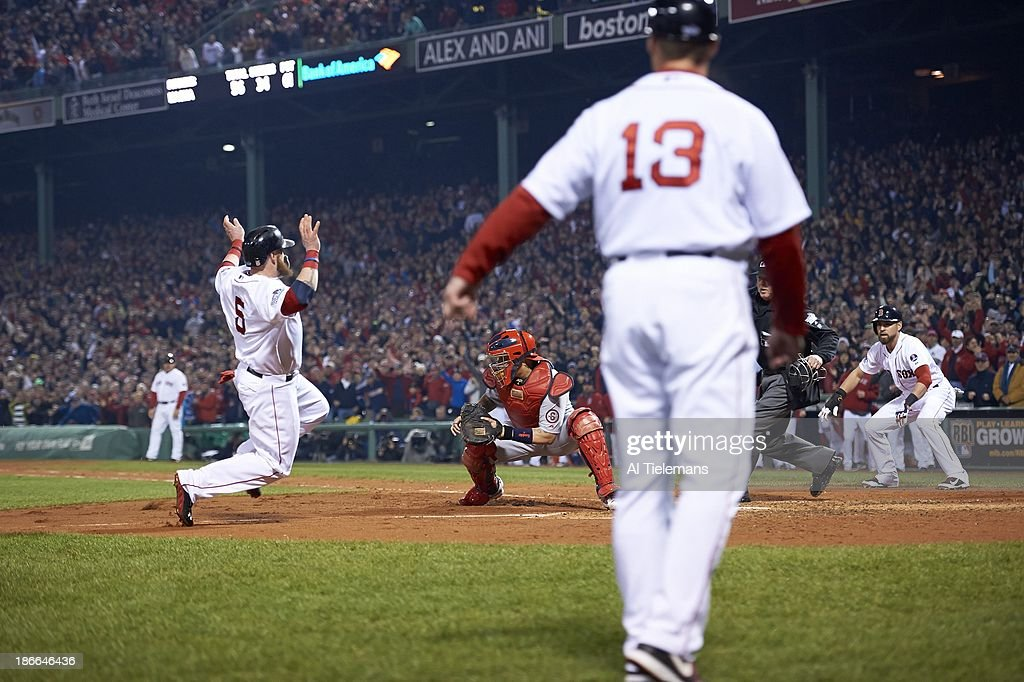 Boston Red Sox Jonny Gomes (5) in action, slide safely into home to score run vs St. Louis Cardinals Yadier Molina (4) at Fenway Park. Game 6. Al Tielemans F45 )