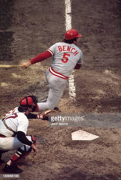World Series Cincinnati Red Johnny Bench in action at bat vs Boston Red Sox at Fenway Park Game 2 Boston MA CREDIT John Iacono