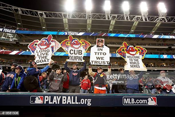 World Series Cleveland Indians fans in stands with Chief Wahoo signs that read LONG LIVE THE GOAT CUB THUMPING IN TITO WE TRUST and WELCOME TO TTHE...