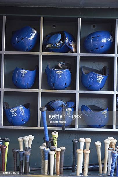 World Series Closeup of Kansas City Royals dugout with bats and helmets before game vs San Francisco Giants at ATT Park Game 5 Equipment San...