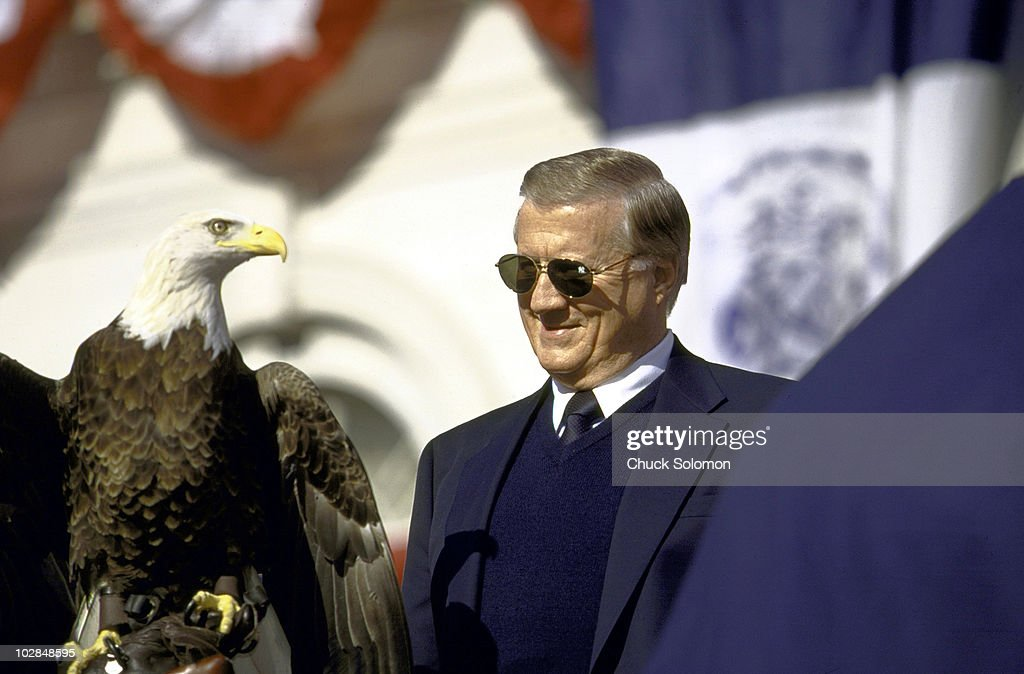 Closeup of New York Yankees owner <a gi-track='captionPersonalityLinkClicked' href=/galleries/search?phrase=George+Steinbrenner&family=editorial&specificpeople=220576 ng-click='$event.stopPropagation()'>George Steinbrenner</a> victorious with Challenger the American Bald Eagle during Victory Parade on Broadway. New York, NY