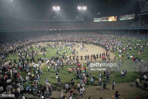 Baseball World Series Detroit Tigers fans victorious on View of Tiger Stadium field after game vs San Diego Padres Detroit MI