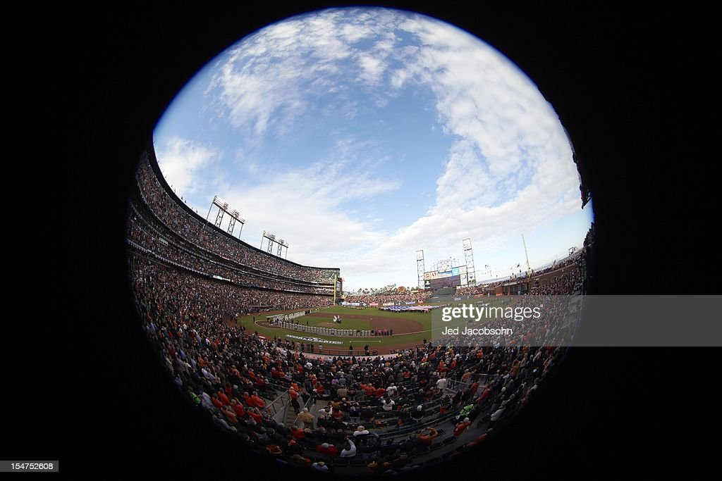 Fisheye view of field during national anthem before San Francisco Giants vs Detroit Tigers game 1 at AT&T Park. Scenic. Jed Jacobsohn F54 )