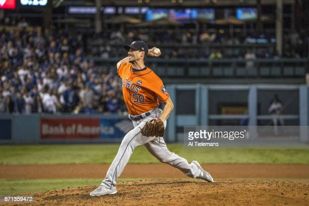 World Series Houston Astros Charlie Morton in action pitching vs Los Angeles Dodgers at Dodger Stadium Game 7 Los Angeles CA CREDIT Al Tielemans
