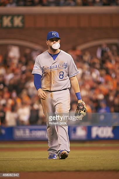 World Series Kansas City Royals Mike Moustakas blowing bubble gum during game vs San Francisco Giants at ATT Park Game 3 San Francisco CA CREDIT...
