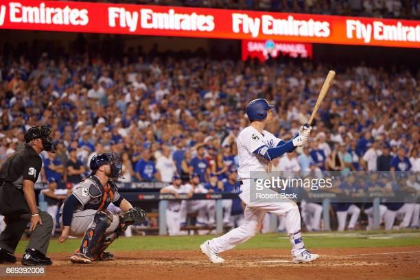 World Series Los Angeles Dodgers Cody Bellinger in action at bat vs Houston Astros at Dodger Stadium Game 2 Los Angeles CA CREDIT Robert Beck