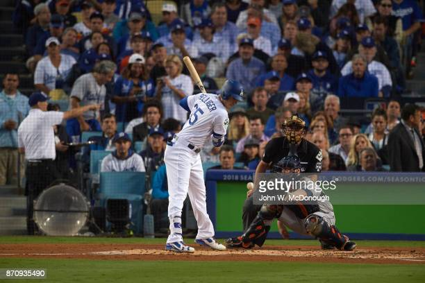 World Series Los Angeles Dodgers Cody Bellinger in action at bat vs Houston Astros at Game 6 Los Angeles CA CREDIT John W McDonough