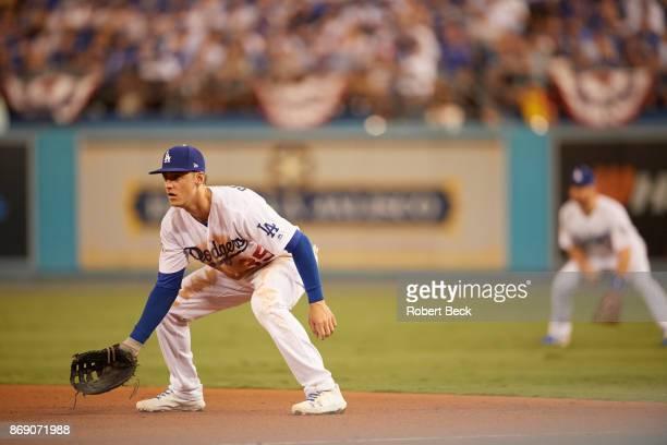 World Series Los Angeles Dodgers Cody Bellinger in action fielding vs Houston Astros at Dodger Stadium Game 1 Los Angeles CA CREDIT Robert Beck