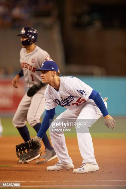 World Series Los Angeles Dodgers Cody Bellinger in action fielding vs Houston Astros at Dodger Stadium Game 2 Los Angeles CA CREDIT Robert Beck