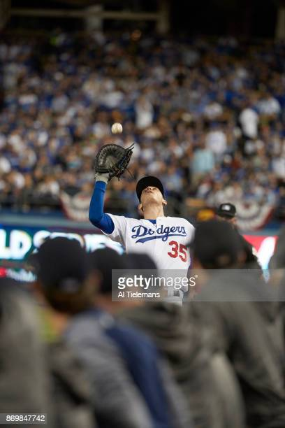 World Series Los Angeles Dodgers Cody Bellinger in action making catch vs Houston Astros at Dodger Stadium Game 7 Los Angeles CA CREDIT Al Tielemans