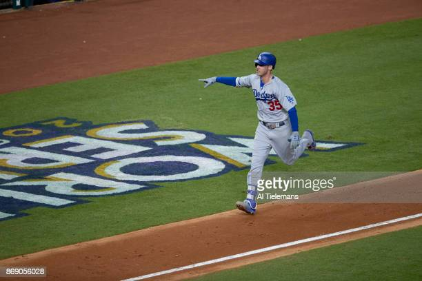 World Series Los Angeles Dodgers Cody Bellinger victorious after hitting home run vs Houston Astros at Minute Maid Park Game 5 Houston TX CREDIT Al...