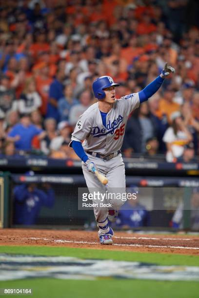 World Series Los Angeles Dodgers Cody Bellinger victorious during at bat vs Houston Astros at Minute Maid Park Game 5 Houston TX CREDIT Robert Beck