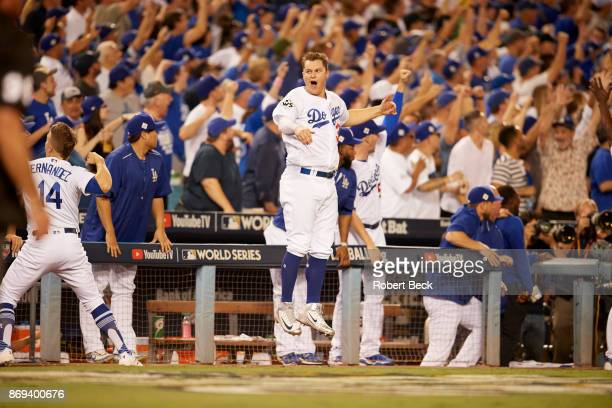 World Series Los Angeles Dodgers Cody Bellinger victorious in front of dugout during game vs Houston Astros at Dodger Stadium Game 2 Los Angeles CA...