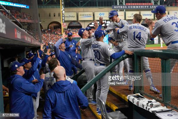 World Series Los Angeles Dodgers Cody Bellinger victorious in dugout after hitting home run with teammates and coaches during game vs Houston Astros...
