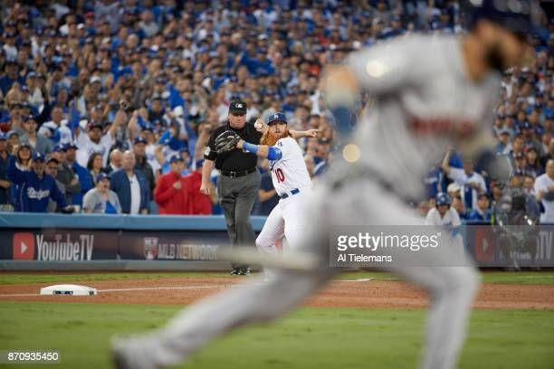 World Series Los Angeles Dodgers Justin Turner in action throwing vs Houston Astros at Dodger Stadium Game 6 Los Angeles CA CREDIT Al Tielemans