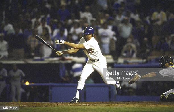 World Series Los Angeles Dodgers Kirk Gibson in action hitting game winning walk off home run vs Oakland Athletics at Dodger Stadium Game 1 Los...
