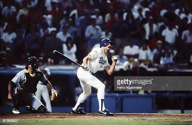 Baseball World Series Los Angeles Dodgers Kirk Gibson in action hitting game winning HR vs Oakland Athletics Los Angeles CA