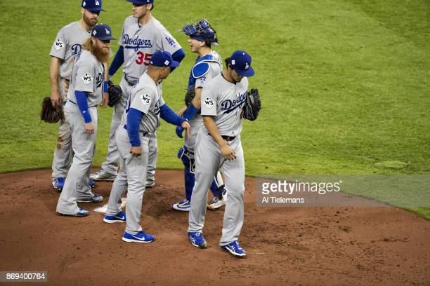 World Series Los Angeles Dodgers manager Dave Roberts at mound to take Yu Darvish out of game vs Houston Astros at Minute Maid Park Game 3 Houston TX...