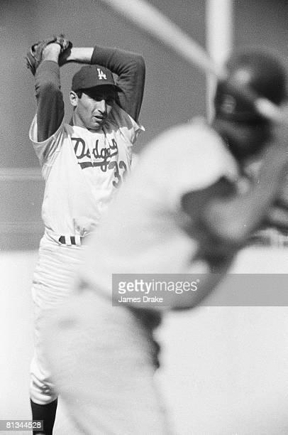 Baseball World Series Los Angeles Dodgers Sandy Koufax in action vs Minnesota Twins Los Angeles CA