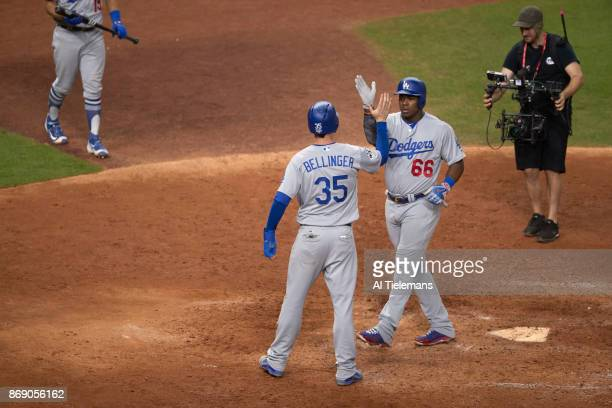 World Series Los Angeles Dodgers Yasiel Puig victorious after hitting home run with Clary Bellinger vs Houston Astros at Minute Maid Park Game 5...
