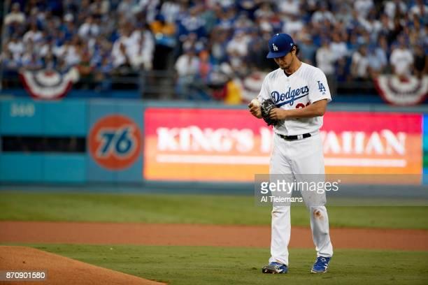 World Series Los Angeles Dodgers Yu Darvish during game vs Houston Astros at Dodger Stadium Game 7 Los Angeles CA CREDIT Al Tielemans