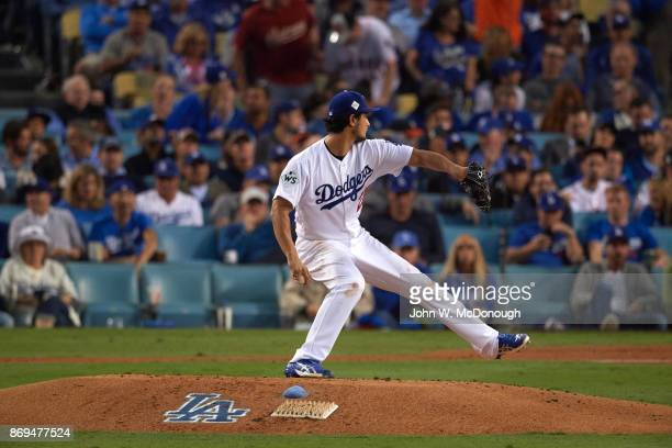 World Series Los Angeles Dodgers Yu Darvish in action pitching vs Houston Astros at Dodger Stadium Game 7 Los Angeles CA CREDIT John W McDonough