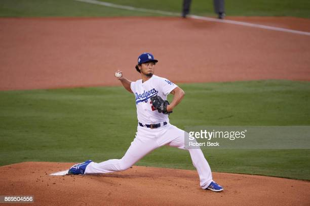 World Series Los Angeles Dodgers Yu Darvish in action pitching vs Houston Astros at Dodger Stadium Game 7 Los Angeles CA CREDIT Robert Beck